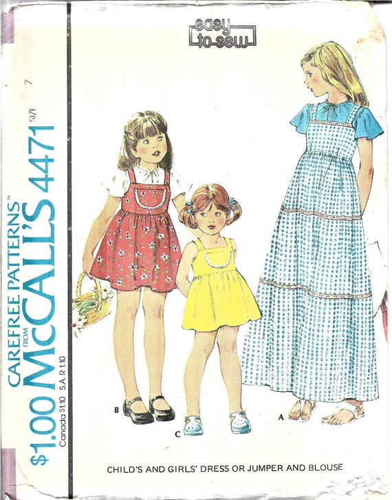 Vintage Girls Dress Jumper Blouse Pattern Little Girls | Etsy