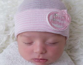 Little sister newborn hospital hat, READY TO SHIP, little sister baby hat, little sister, newborn hospital hat, girl newborn hat