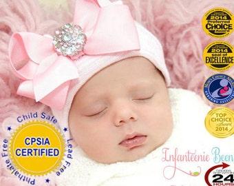 93d60d29351 Hospital Newborn hat Newborn baby girl beanie with bow pink