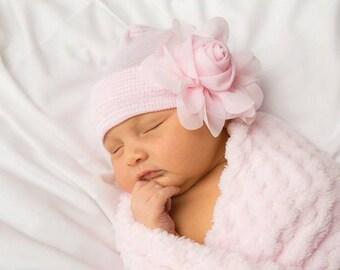 7a2fb979807806 BABY GIRL HAT, newborn hospital hat, newborn girl hat, hospital newborn hat,  newborn hat, infant hat, baby hat, baby bow