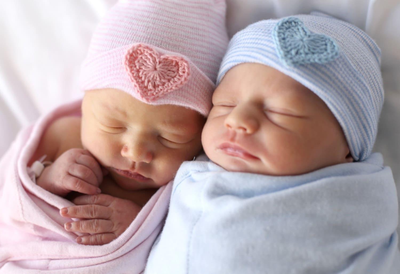 2019 year looks- Twin newborn baby boys in hospital photo