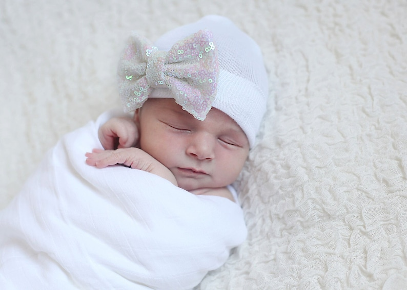 4f3f3034c GOLD, WHITE or PINK newborn girl take home outfit hat, Newborn Beanie  Beanie with Bow Portait Hat Newborn Hospital Hat Girl