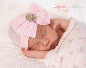 NEWBORN GIRL HAT, newborn hospital hat with bow, newborn girl hat,  hospital newborn hat, newborn hat, infant hat, baby hat, baby bow