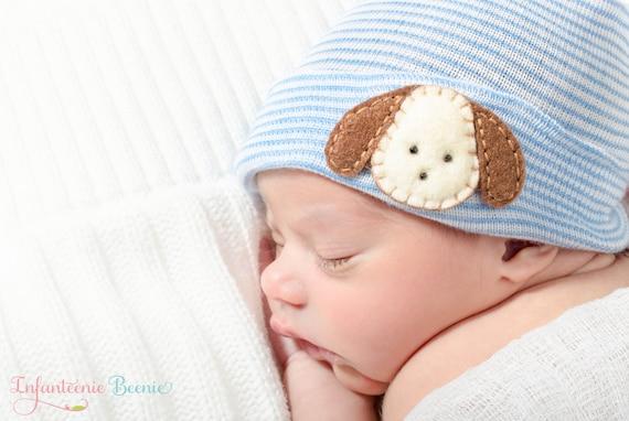 32f083ca26d puppy newborn boy hat blue and white stripes newborn hospital
