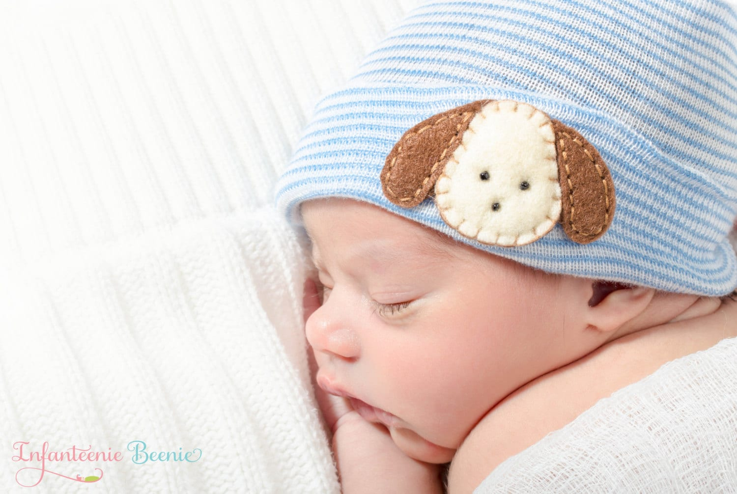 Puppy newborn boy hat blue and white stripes newborn hospital  0b5797cb437
