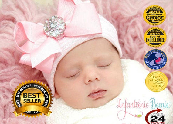 fa475cecf Newborn Hospital Hat Bow Baby Girl Hospital Hat Beanie with Bow - PINK