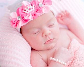 tiara newborn hospital hat, newborn girl, READY TO SHIP, baby girl hat, baby girl, hospital newborn hat, newborn hat, infant hat, baby hat