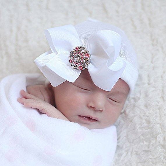 white baby hat white baby bow white newborn hat or pink baby  57b52dfe469
