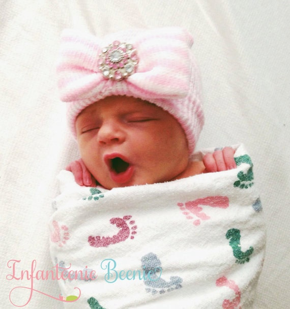 baby girl hat infant boutique style,newborn beanie hospital hat cute baby hat NEWBORN HOSPITAL HAT-Baby girl hat pink hospital beanie