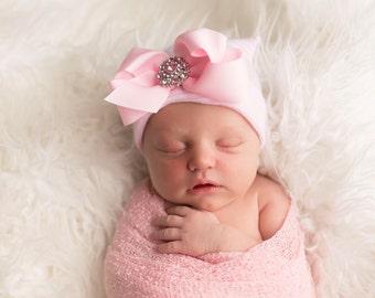 BABY GIRL HAT, newborn hospital hat, newborn girl hat, infant girl hat, hospital newborn hat, newborn hat, infant hat, baby hat, baby bow