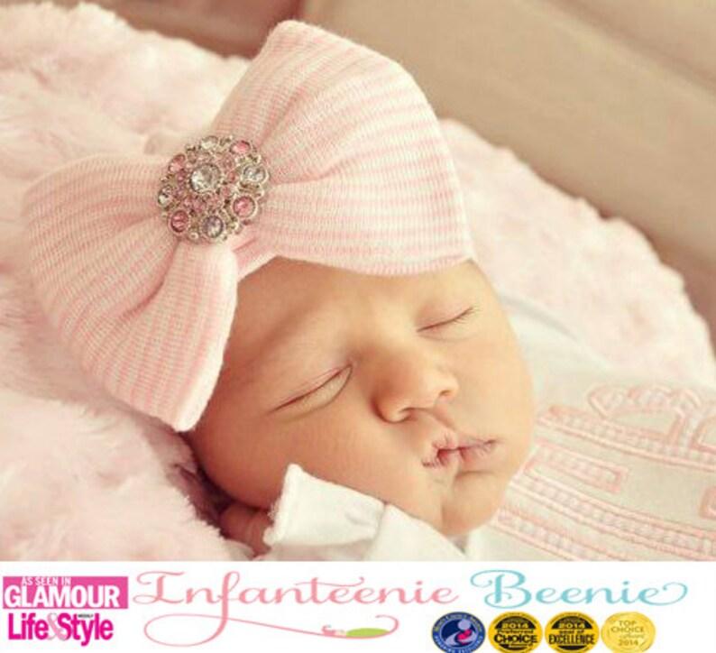 5a48cbba2 baby girl newborn hospital hat newborn girl hospital hat with bow and bling  baby girl newborn girl take home outfit