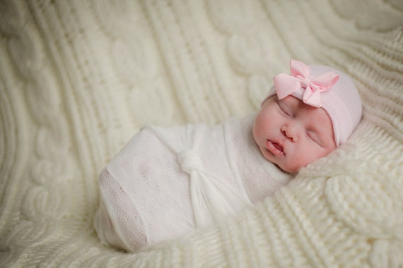 773735877a4 Elegant pink grosgrain ribbon newborn hospital hat for baby