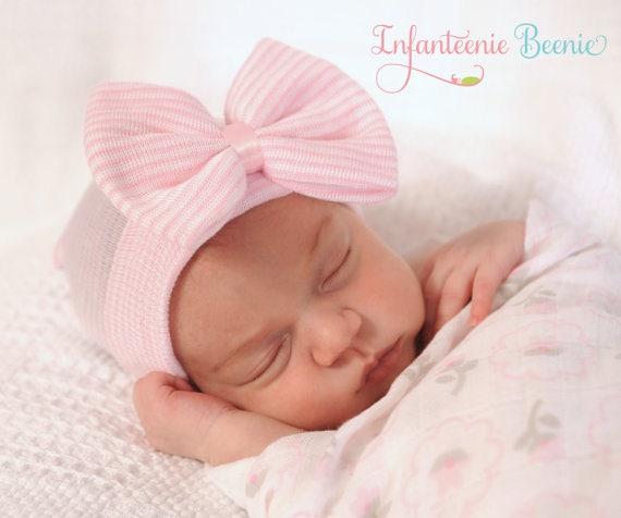 59adb2653 NEWBORN HAT with BOW, newborn girl hospital hat, newborn girl hat, newborn  girl, hospital hat with bow