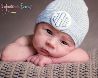Newborn Hospital Hat Boy.  Newborn Hat Boy.  Boy Newborn Hat.  1 or 3 initials to custom monogram your baby boy newborn hospital hat.