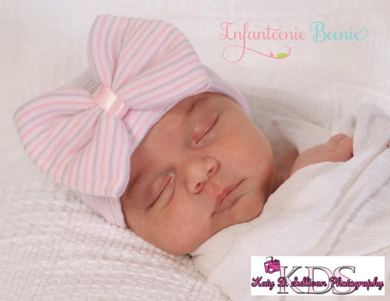 89ab13c8e Purple newborn hat bow hospital hat baby girl newborn hospital hat girl  newborn hospital hat purple hat bow infanteenie beanie