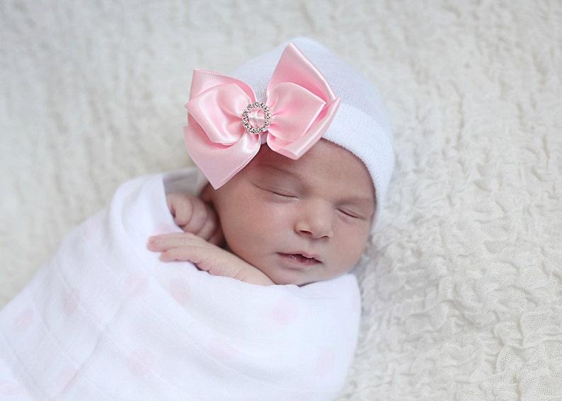 b06db5f1f68 SALE Satin Bow with Rhinestone newborn hospital hat by