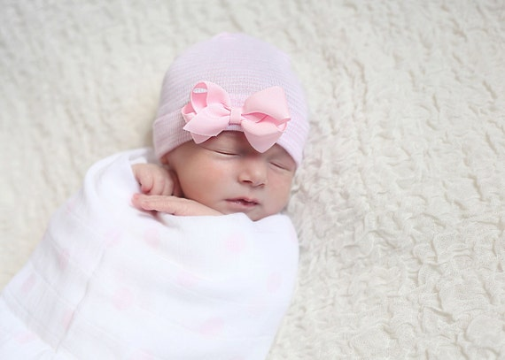 f3e836dbbb1 newborn girl take home outfit Newborn Beanie White and Pink