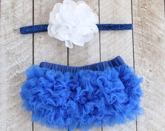 178aac8ead6 Baby Girl Ruffle Bottom Bloomer   Headband Set in Royal Blue - Newborn  Photo Set - Infant Bloomers - Diaper Cover - Baby Gift