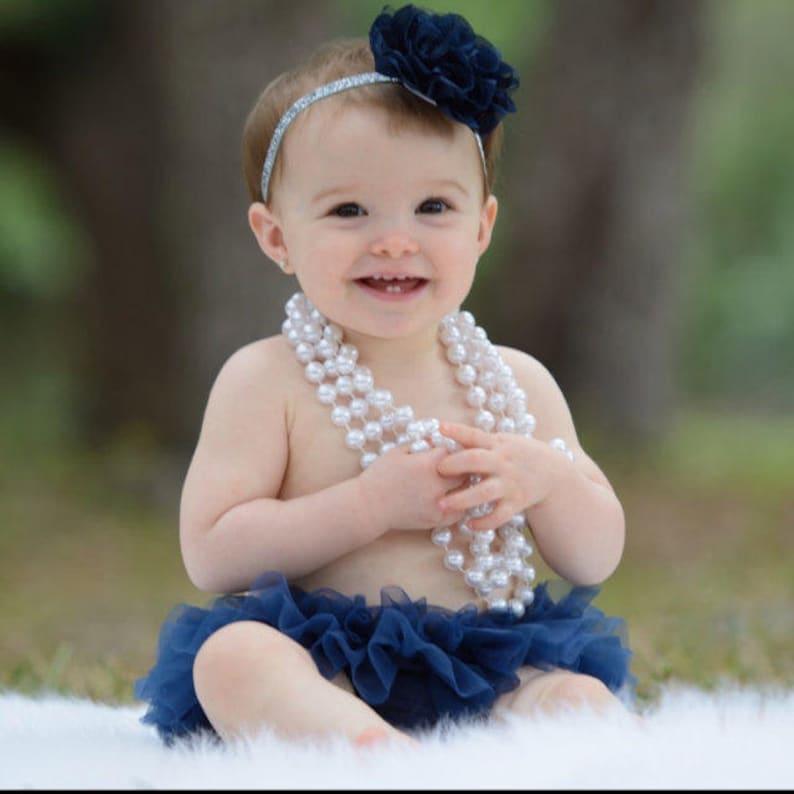 Baby Gift Cake Smash Birthday Baby Girl Ruffle Bottom Tutu Bloomer Headband Set in Navy Blue /& Silver Newborn Photo Diaper Cover