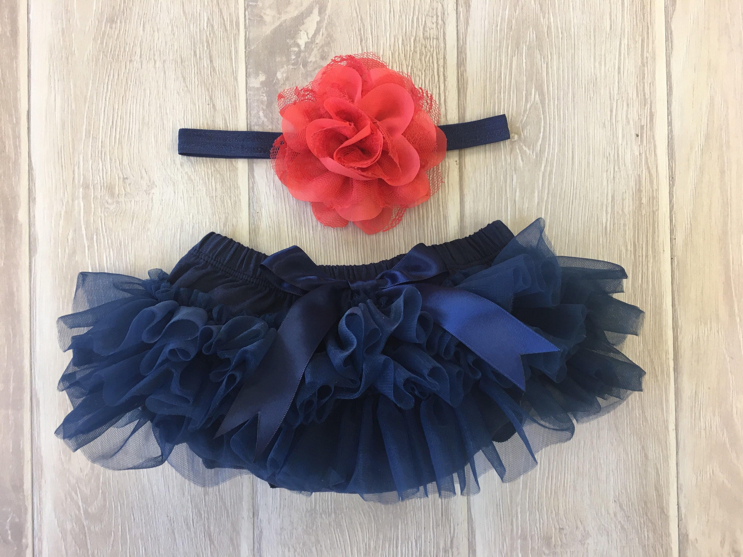 e981b0335 Baby Girl Ruffle Bottom Tutu Bloomer Headband Set in Navy Blue
