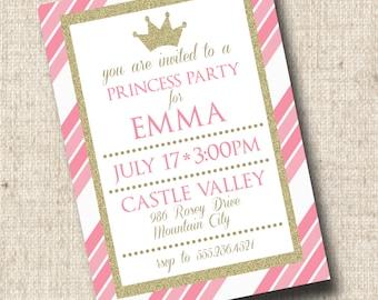 Printable Princess Party Invitation, Princess Birthday Invitation, Pink and Gold, Princess Baby Shower
