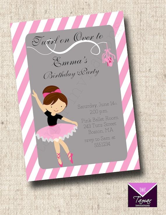 Bailarina Para Imprimir Cumpleaños Invitación Zapatillas De Ballet Rosa Y Gris Niñas Cumpleaños