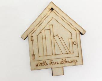 Décoration de bibliothèque - décor de vacances échange petit livre découpés au Laser