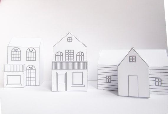 Drei DIY Papier-Häuser bereit Design-Vorlagen zu drucken | Etsy