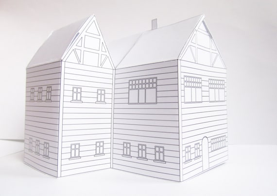 DIY paper house ready design template to print cute | Etsy