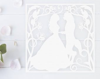 Beauty and the Beast  Papercutting Template • Paper Cut Template • DIY Paper Cutting • Fairytale • Personal Use Only