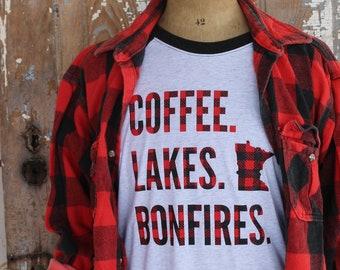 COFFEE LAKES BONFIRES Red Black Buffilo Plaid White and Charcoal Heathered Gray Baseball T Shirt