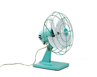 Industrial Chic Vintage Fan Aqua Blue Home Decor Price Drop