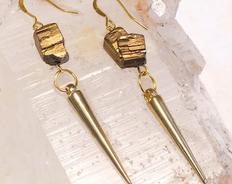 Spike Earrings with Pyrite in Silver or Gold- Edgy Pyrite Spike Earrings- Mineral Earrings- Day to Night Earrings- Elegant Boho style Gift!