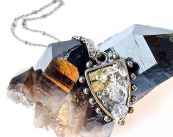 Heraldic Medallion Pendant/Necklace- Raw Mixed Minerals Pendant w. Pyrite, Quartz + Herkimer Diamonds- OOAK Pauletta Brooks Wearable Art