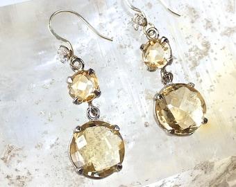 Lemon Citrine dangle drop Earrings- Gemstone Dangle Earrings- Swarovski Crystal -Lemon Quartz Crystal-cocktail earrings November birthstone