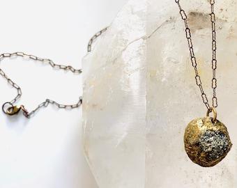 Delicate PYRITE PENDANT- Fool's Gold Raw Mineral Pendant- Organic, Natural Stone Pendant Necklace on Antique Gold Chain- OOAK Pyrite Pendant