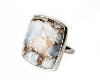 Blue Calcite Matrix Mineral Ring- Sterling Silver Ring- Large square Statement Ring- Boho Silver Ring, Gypsy Ring, Calcite Healing size 6.25