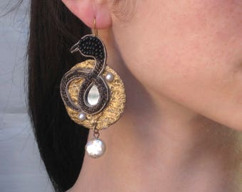 Baroque Medieval Serpent Earrings-Black+Gold with Beaded detail- Fantasy Earrings-VINTAGE Pauletta Brooks Wearable Art- fashion editorials