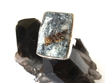 Astrophyllite Druzy Ring in Sterling Silver size 5.75 or size 7