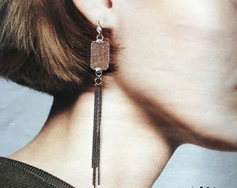 Rose Blush Druzy Dangle Earrings- Dusters with Silver Fringe, Statement Earrings with Fringe, Tassels- Wedding earrings