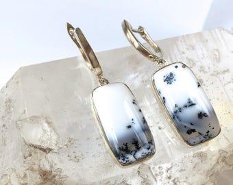 Dendrite Opal drop Earrings-  Elegant Dangle Earrings with Silver Silver- Gemstone of Comradeship+ Relationships! Healing +Grounding Stone