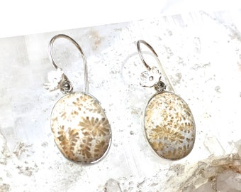 Fossil Coral Earrings- Elegant Oval Earrings with silver flower detail- Delicate Dangle Earrings in Sterling Silver- UNIQUE Gift for Her!