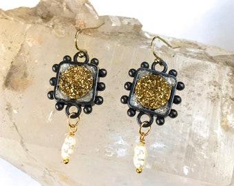GOLD DRUZY Gemstone Statement Earrings w. Pearl-Antique Silver Mineral Earrings- Medieval/ Baroque Dangle Earrings-Heraldic Hobnail Earrings