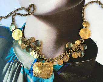 GOLD NUGGET Primitive Organic Charm Necklace- Chunky Gold Stone w. gold+bronze Disks on Gold linked Chain-OOAK Pauletta Brooks Wearable Art