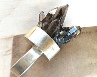 Sterling Silver and Smoky Quartz Crystal Cocktail Ring- OOAK Mineral Statement Ring- Huge Bling Ring!- Pauletta Brooks Wearable Art- size 7