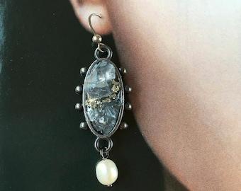 Silver+Black Statement Earrings w. Herkimer Diamonds, Quartz, Celestite, Pyrite, Pearl- Rough cut Minerals-Medieval/ Baroque Dangle Earrings