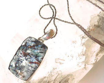 Astrophyllite Druzy Mineral Pendant/Necklace-Rectangle Shape Stone- Rare Mineral Pendant in Sterling Silver- Raw Mineral Pendant-long chain
