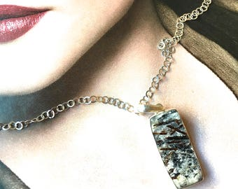 Astrophyllite Druzy Mineral Pendant/Necklace- Long Rectangle Stone- Rare Mineral Pendant in Sterling Silver- Raw Mineral Pendant-short chain