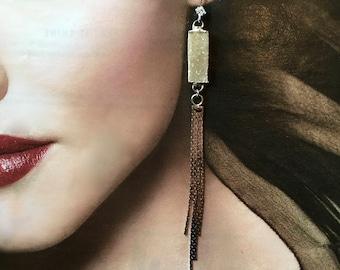 Beige Druzy Duster Earrings with Silver Fringe- Druzy Dusters- Statement Earrings with Fringe Tassels- Bridal, Wedding earrings