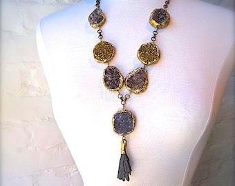 PYRITE Druzy Statement Necklace- Semi Precious Gemstone Minerals with Kyanite 'Tassel'-Rough Cut Stone Necklace-Pauletta Brooks Wearable Art